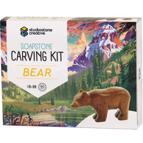 Bear soapstone carving kit box