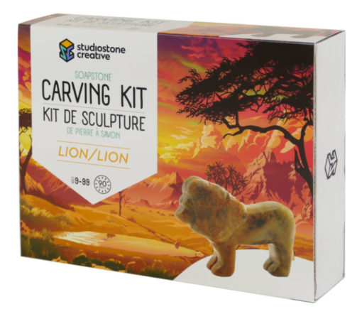 Lion soapstone carving kit box