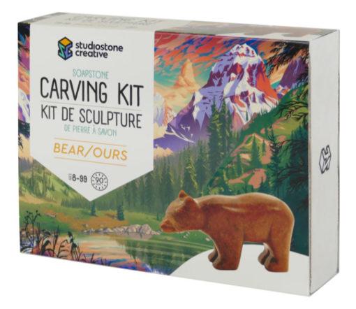 Bear soapstone carving kit box