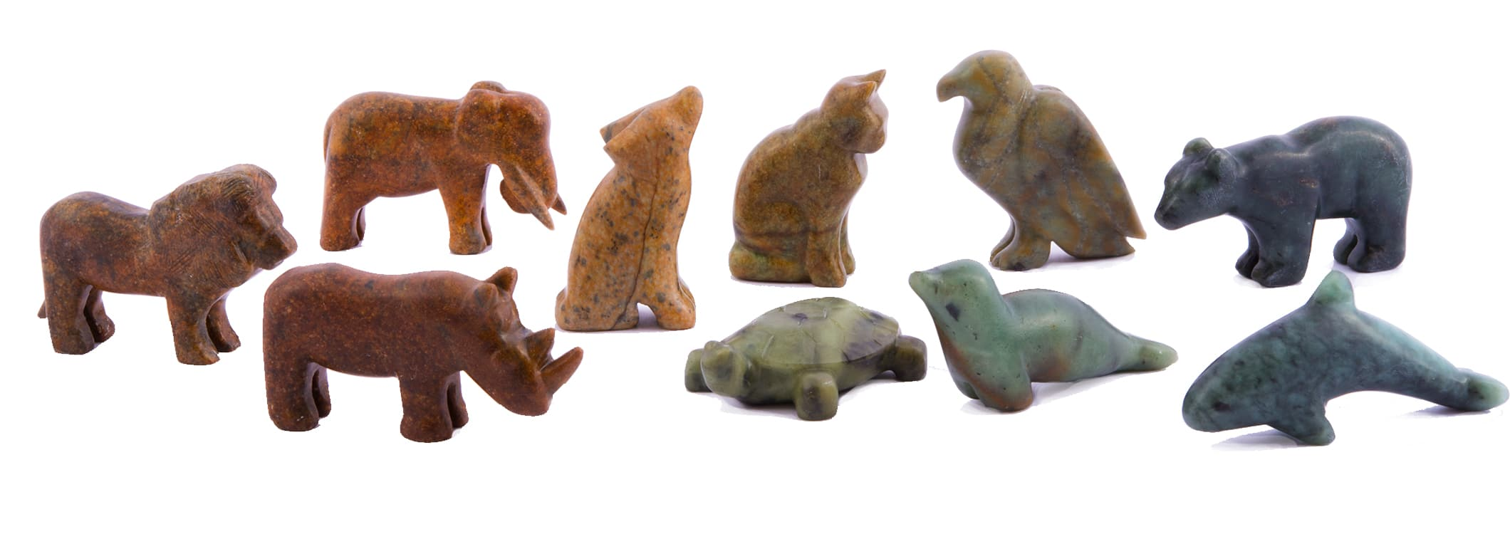 Ten animals carved in soapstone, one lion, rhino, elephant, wolf, cat, turtle, eagle, seal, bear and orca