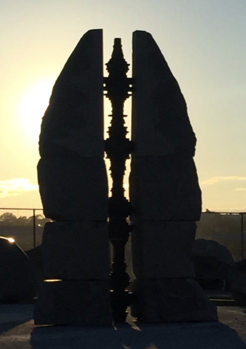 Stone sculpture during sunset