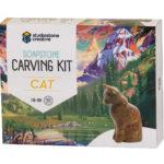 Cat soapstone carving kit box