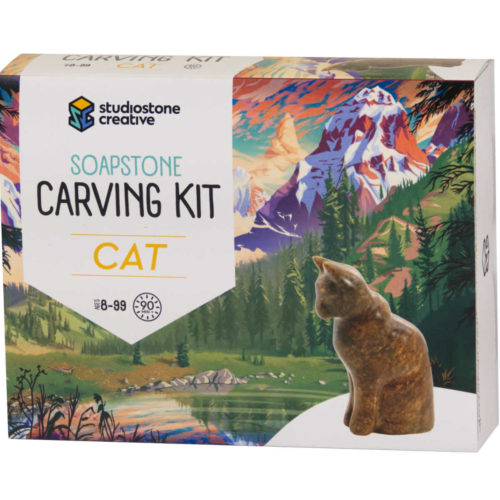 Cat soapstone carving kit box