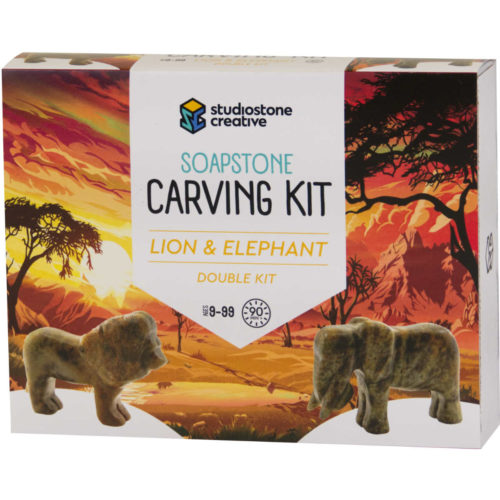 Double lion and elephant soapstone carving kit box