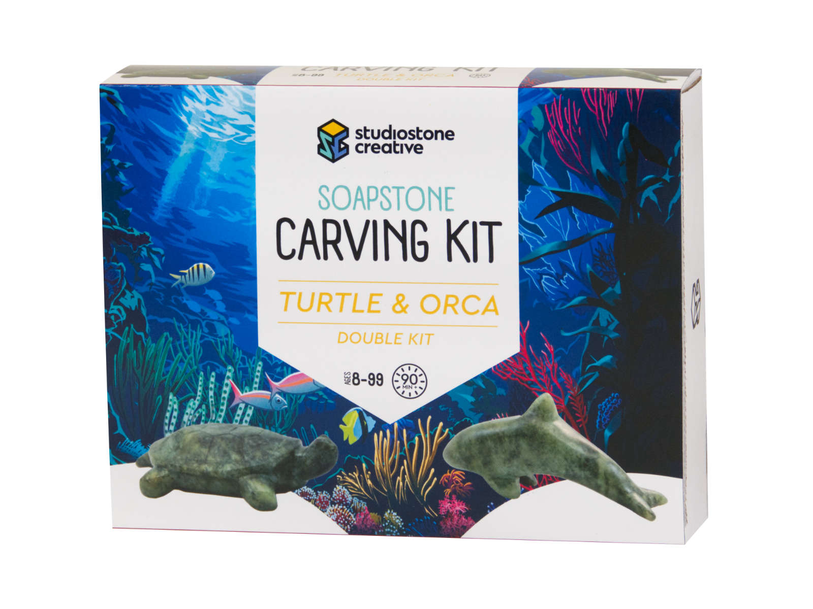 Double turtle and orca soapstone carving kit box