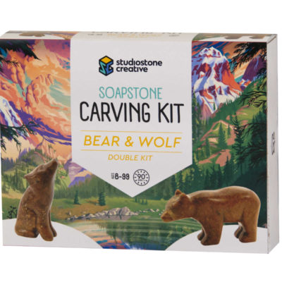 Double bear and wolf soapstone carving kit box