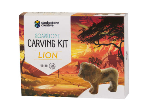 Lion soapstone carving kit box