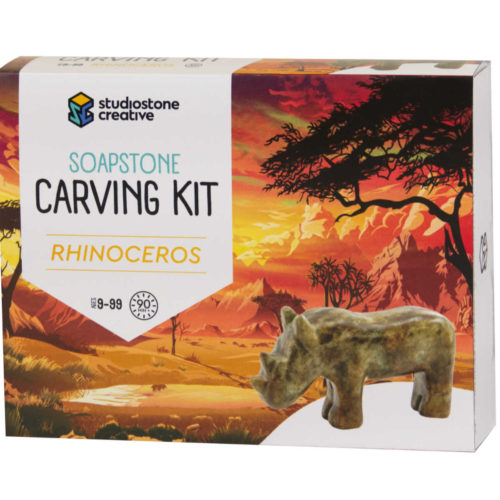 Rhino soapstone carving kit box