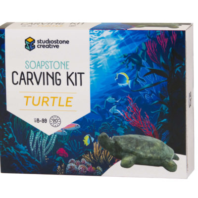 Turtle soapstone carving kit box