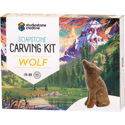 Wolf soapstone carving kit box