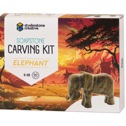 Elephant soapstone carving kit box