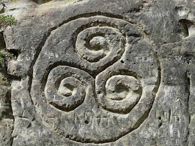 Triskelion carved in a stone