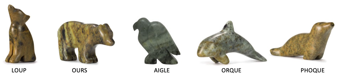 soapstone sculptures in animal shapes